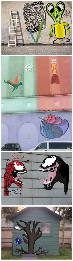 Superimposed street art designs. Responding to artists and the environment to create new and unique characters and graphic work for a large scale location.