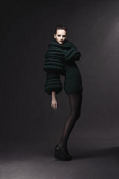 Sculptural Knitwear creative fashion; three-dimensional tubular sleeves // Sandra Backlund