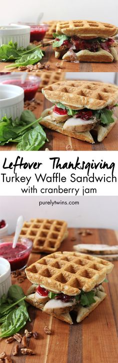 Plantain waffles to make savory turkey cranberry sandwiches with creamy broccoli.  If you have leftovers this is how to eat them up! | purelytwins.com