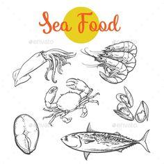 Isolated Set of Fresh Marine Products