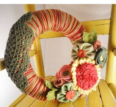 Yarn Wreath with Felt Flowers 10in Spring Sage by cakoons