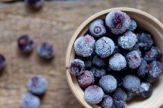 Frozen berries currants top view stock photo