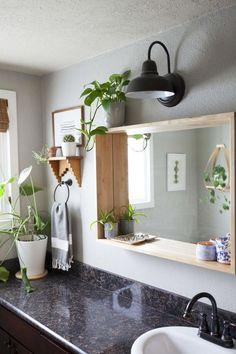 Diy Bathroom Mirror Ideas Lovely 11 Bud Ways to Upgrade Your Basic Frameless Bathroom Mirror A Place for Me Bathroom Mirror Design, Diy Mirror, Bathroom Lighting, Mirror Ideas, Bathroom Ideas, Bathroom Makeovers, Bathroom Renovations, Bathroom Storage, Budget Bathroom