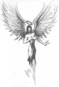 Military Girl Tattoo Design On Leg · Fantastic Angel Girl Tattoo Design