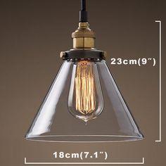 Buyee Suspension rétro en verre et métal Style industriel: Amazon.fr: Luminaires et Eclairage