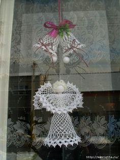 Ángeles,campanas y copos de nieve a crochet.