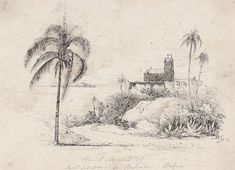 Maria Graham (1785-1842). Church & Convent of Sant Antonio da Barre, Bahia. pen and ink on paper, signed with initials 'MG' (lower right) and inscribed as titled, numbered '7' (upper left), with inscription 'By Mrs Maria Graham, for her work on the Brazils.' on the paper mount