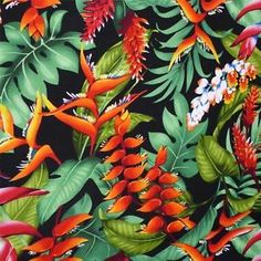 By Transpacific, a wonderfully bright multicolored Hawaiian print with ' awapuhi ' ula'ula (red ginger flowers) and lau lau (leaves) on a black background. Description from ebay.com. I searched for this on bing.com/images
