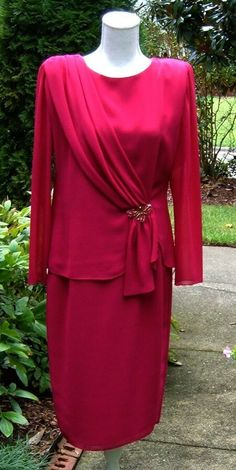 4d7b097af5d URSULA of SWITZERLAND Wine Red Mother-of-the-Bride Cocktail Dress Size