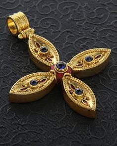 Handmade Cross Gold with Zafiris Christian Symbols, Cross Jewelry, Crucifix, Ancient Greece, Religious Art, Christening, Pocket Watch, Christianity, Sapphire