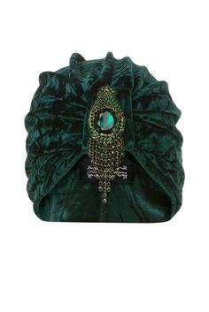 Turbante de terciopelo picado verde esmeralda con por TheFHBoutique, £30.00