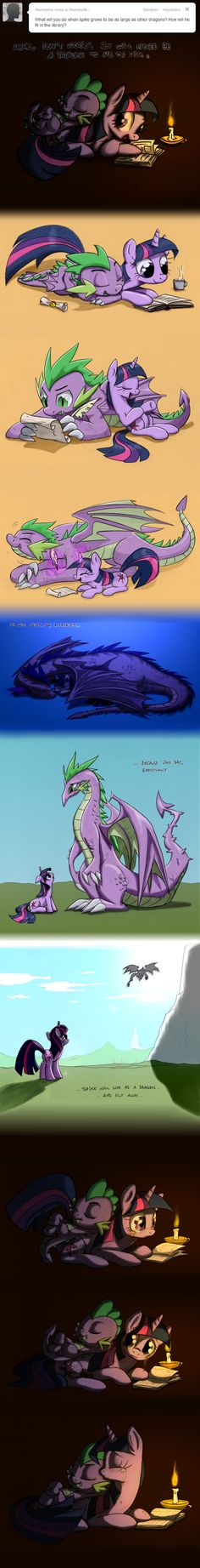 Headcanon: Twilight may worry about it, but it'll never happen. Spike is too loyal to leave her.