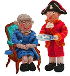 Just the right sort of doll to knit in this Jubilee Year! The Queen and her footman.