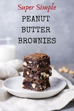 The ultimate in easy but decadent brownie recipes, these Chocolate Peanut Butter Brownies are ready to devour in under an hour, and might just be the best and easiest brownies you'll ever make! Decadent Brownie Recipe, Best Brownie Recipe, Best Cookie Recipes, Best Dessert Recipes, Brownie Recipes, Sweet Recipes, Bar Recipes, Popular Recipes, Holiday Desserts
