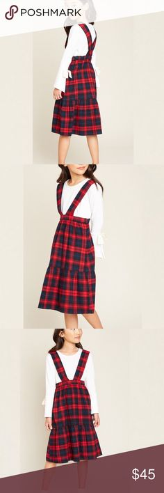 """KIDS Tiered Overall Plaid Skirt 100% Cotton. Matching adult sizes! Measurements include waist that has an elastic waistband on back. Skirt length from waist to hem and whole length from top of straps down 7/8 Waist - 10"""", Skirt - 22"""", Length - 33"""", 9/10 Waist - 11"""", Skirt - 23"""", Length - 34"""", 11/12 Waist - 12"""", Skirt - 24.5"""", Length 36"""", 13/14 Waist - 13"""", Skirt - 26"""", Length 39"""" Dresses Casual"""