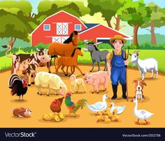 Farm with animals Royalty Free Vector Image - VectorStock Preschool Learning Activities, Preschool Crafts, Speech Therapy Themes, Farm With Animals, Chicken Bird, Free Vector Art, Photo Illustration, Farm Life, Farmer