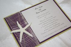 Purple and green beach wedding invitation by Midnight Wine Designs