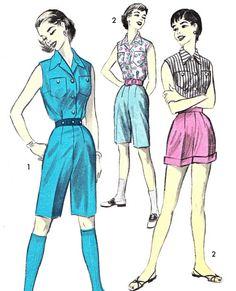 1950s Shorts Sleeveless Blouse Pattern Advance 7877 by paneenjerez, $14.00