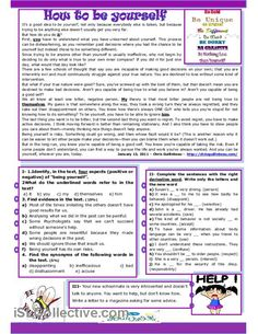 This is a reading comprehension and writing activity about being ourselves. There are different types of exercises to verify students' reading skills: reading. Reading Skills, Writing Skills, Teaching Reading, Learning, Reading Comprehension Activities, Reading Worksheets, Printable Worksheets, English Lessons, Learn English