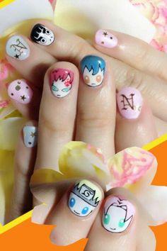 Naruto nail art by Nakayama Chieko Kawaii Nail Art, Cute Nail Art, Cute Nails, Pretty Nails, Naruto Nails, Anime Nails, Easter Nail Designs, Nail Art Designs, Easter Nails