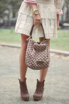 Emilee Anne wearing Free People dress, Tory Burch booties and Marc by Marc Jacobs woven bag