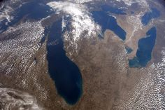 NASA astronaut Terry V. Wirts took this beautiful photo of Michigan, and all five Great Lakes from aboard the International Space Station.