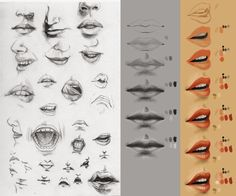 three types of lips drawing step by step | All new fine art, material art,and all kinds of art and drawings pics (art iz my life )