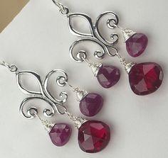 Red Ruby Chandelier Earrings Fleur de Lys by TownCountryJewelry, $115.00