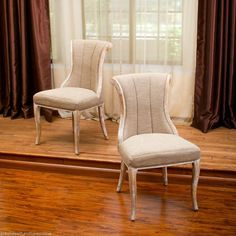 Set of 2 Elegant Light Brown Fabric Dining Chairs w/ Weathered Wood Accents #GreatDealFurniture #Contemporary