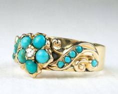 Beautiful Antique Turquoise & Diamond Band - 18K Yellow Gold Victorian Pansy Ring