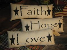 "Primitive Hand Painted Stenciled Set of 3 Pillows "" FAITH, Hope and Love ""  Decoration Everyday Housewares on Etsy, $19.95"