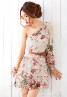 Chiffon One Shoulder Floral Printed Apricot Dress @ Cheap Women Dresses On Sale ! Junior dresses,Cute dresses,Sexy & Party dress and Cheap Dresses, Cute Dresses, Casual Dresses, Short Dresses, Fashion Dresses, Summer Dresses, Chiffon Dresses, Floral Chiffon, Sleeve Dresses
