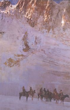 Native Americans on horseback in front of mountainous landscape by Bernard (Bernie) Fuchs on artnet Time Painting, Figure Painting, Painting & Drawing, Fuchs Illustration, American Illustration, Landscape Artwork, Portraits, Winter Landscape, Western Art