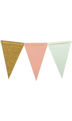 Ling's moment 10 Feet Vintage Style Pennant Banner, Paper Triangle Flags Bunting for Wedding, Baby Shower and Christmas Decorations, 15pcs Flags(Mint+Coral+Gold Glitter) Best Price