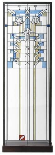 "Frank Lloyd Wright ""Waterlilies"" Stained Art Glass Panel Display w Stand Hanging 