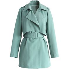 Chicwish The Best Of Timeless Trench Coat in Teal ($68) ❤ liked on Polyvore featuring outerwear, coats, jackets, coats & jackets, abrigo, brown, brown trench coat, belted trench coat, green trench coat and green coat