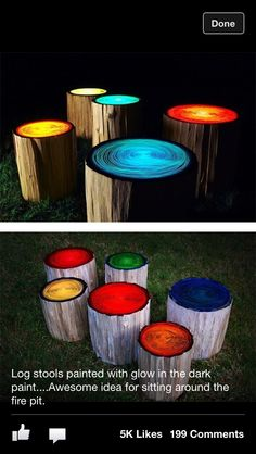 Glow in the dark paint on stumps of wood, for campfire