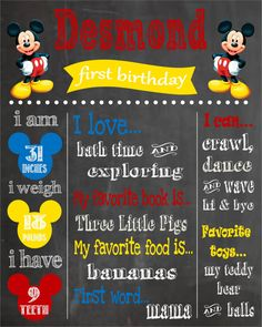 Mickey Mouse Printable First Birthday by PintSizePartyDesigns, $15.00