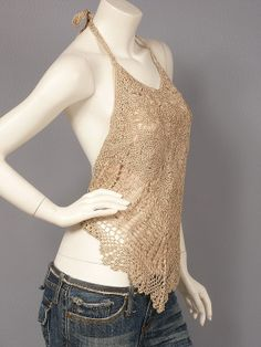 Backless Handkerchief Halter Top | Sexy Knit Crochet Handkerchief Backless Halter Top Vest Free Postage ...