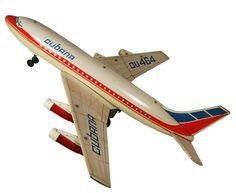 "Cubana de Aviacion - "" Cubana Airlines "" DC-8 Airplane Toy Model, by Japan Toy maker "" Nomura. ""  Tin, plastic, 25 X 23 inches."