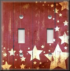 Light Switch Plate Cover - Country Home Decor - Aged Barn Stars - Red
