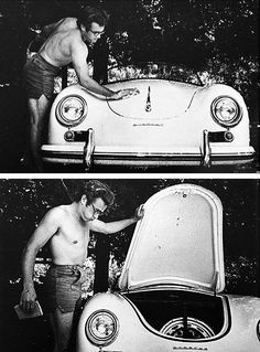 James Dean washing his Porsche Speedster, photographed by Sanford Roth.