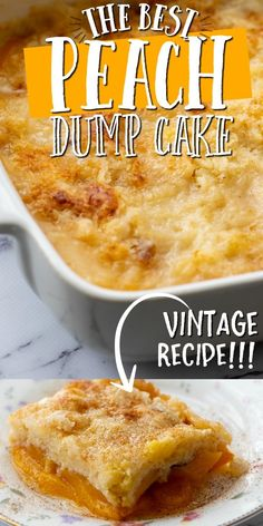 This old-fashioned peach dump cake is quick and easy dessert you'll absolutely love. A dump cake is Köstliche Desserts, Delicious Desserts, Yummy Food, Quick Easy Desserts, Homemade Desserts, Health Desserts, Dump Cake Recipes, Baking Recipes, Dump Cakes