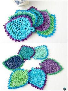 Crochet Peacock Pineapple Coaster Free Pattern --10 #Crochet Peacock Projects Free Patterns