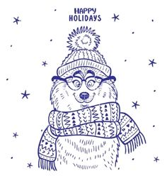 Husky winter vector. Happy Holidays by Julija on VectorStock®