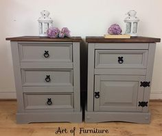 A Pair of Rustic Mexican Corona Pine Bedside table, Chest of drawers Hand Painted in Annie Sloan French Linen Chalk Paint Upcycled by on Etsy Rustic Pine Furniture, Mexican Pine Furniture, Pine Bedroom Furniture, Hand Painted Furniture, Distressed Furniture, Refurbished Furniture, Handmade Furniture, Upcycled Furniture, Lodge Furniture