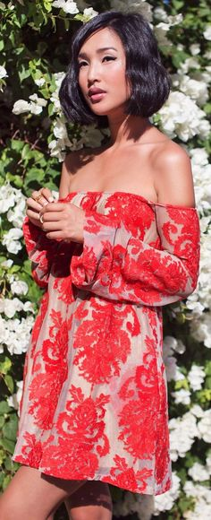 For The Love  Lemons Nude And Red Embroidered Off Shoulder Mini Dress by Gary Pepper