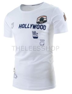 (CLIST07-WHITE) Mens Slim Logo Printed Patched Embroidery Short Point Sleeve Tshirts