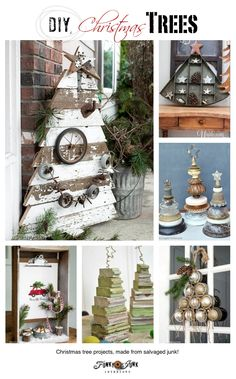 If you love a good festive DIY, check out these fabulous DIY Christmas trees, made from salvaged junk! Reclaimed wood, license plates, rusty door pulls, plus!