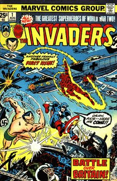 The Invaders (Marvel, CGC NM+ White pages. Sub-Mariner, Human Torch, and Captain America - Available at Sunday Internet Comics Auction. Marvel Comic Books, Comic Book Heroes, Comic Books Art, Comic Art, Marvel Characters, Book Art, Univers Marvel, Vintage Comic Books, Vintage Comics